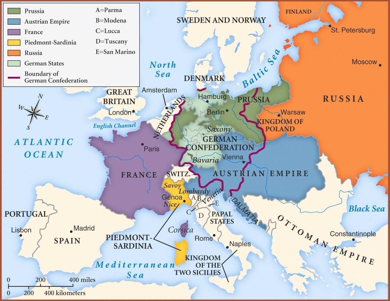 Map of Europe in 1850