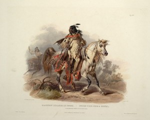 A Blackfoot indian on horseback 300x240 The Blackfoot Indians: History, Culture, Society