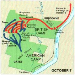 Battle of Saratoga map oct7 Battle of Saratoga: Freemans Farm & Bemis Heights