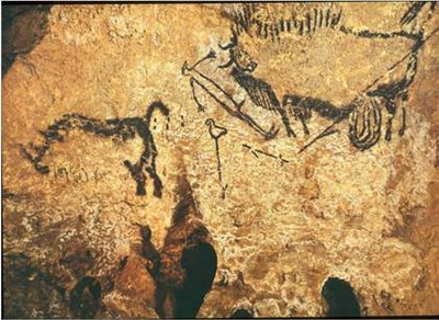 Man with Bison and Rhinoceros Ancient art: Lascaux & Altamira Caves, Venus of Willendorf